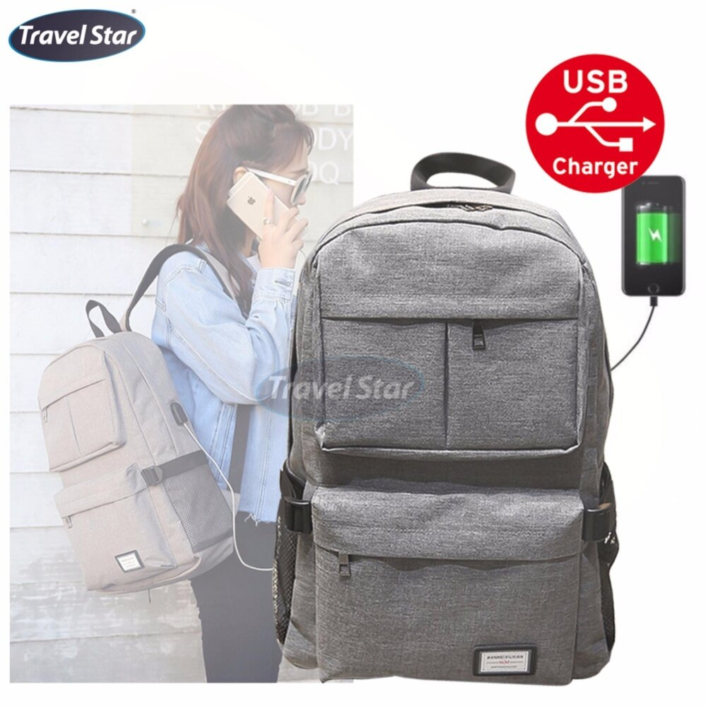 Travel Star 1268 Korean Style Premium Laptop Backpack With External Charging USB Port - Grey