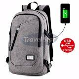 Travel Star 309 Korean Style Premium Laptop Backpack With External Charging USB Port- Grey
