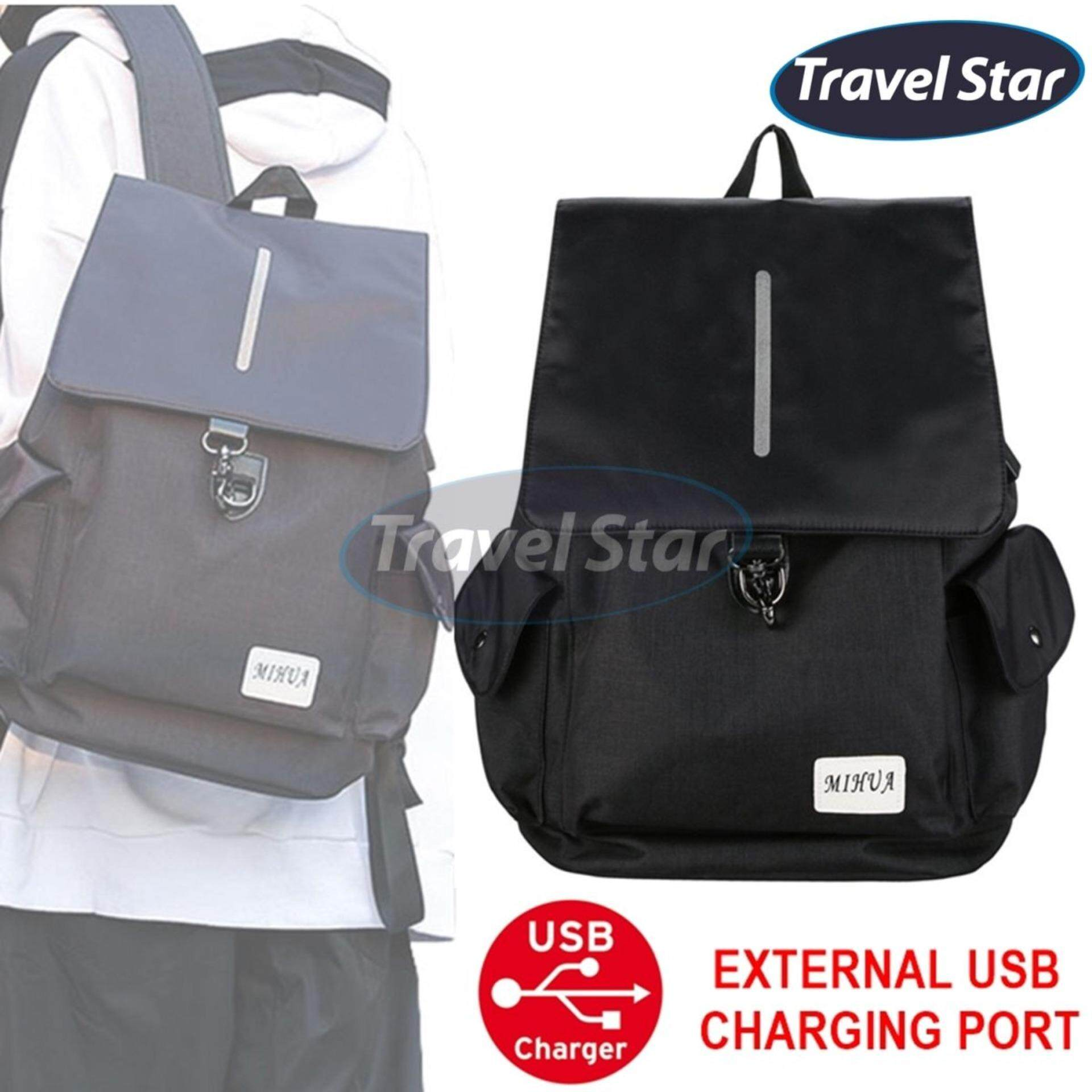 Travel Star 313 Korean Style Premium Double Strap Laptop Backpack with External Charging USB Port- Black
