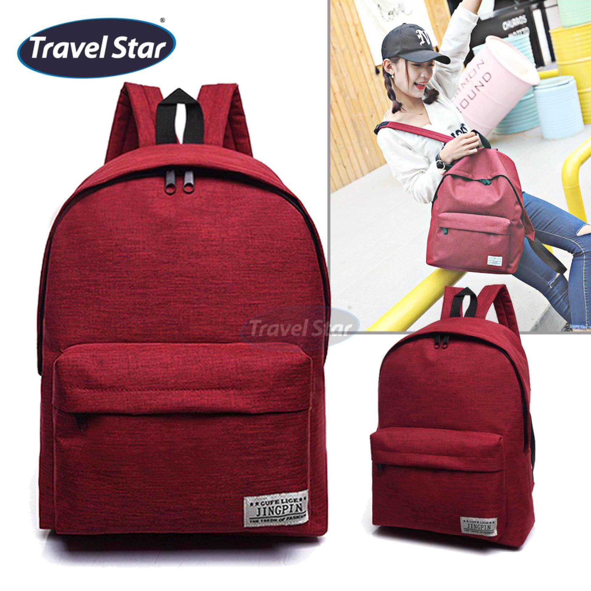 Travel Star 364 Korean Style Premium Double Strap Backpack - Red