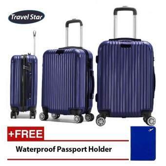 Travel Star Q03 Premium Glossy ABS+PC Luggage Set (3 in 1 Set) with Handbag Handle- Navy Blue