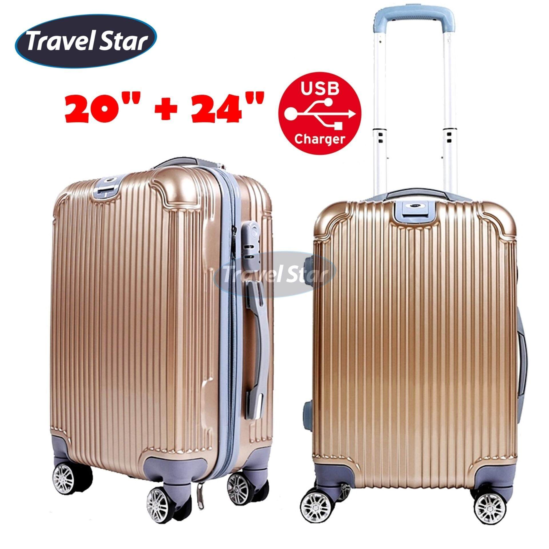 TRAVEL STAR QZ002 Elegant 20 Inch + 24 Inch Hard Case Luggage Bagasi Sets With External Charging Port- Gold