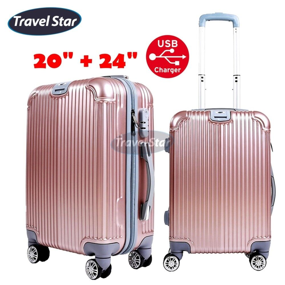 TRAVEL STAR QZ002 Elegant 20 Inch + 24 Inch Hard Case Luggage Bagasi Sets With External Charging Port- Rose Gold