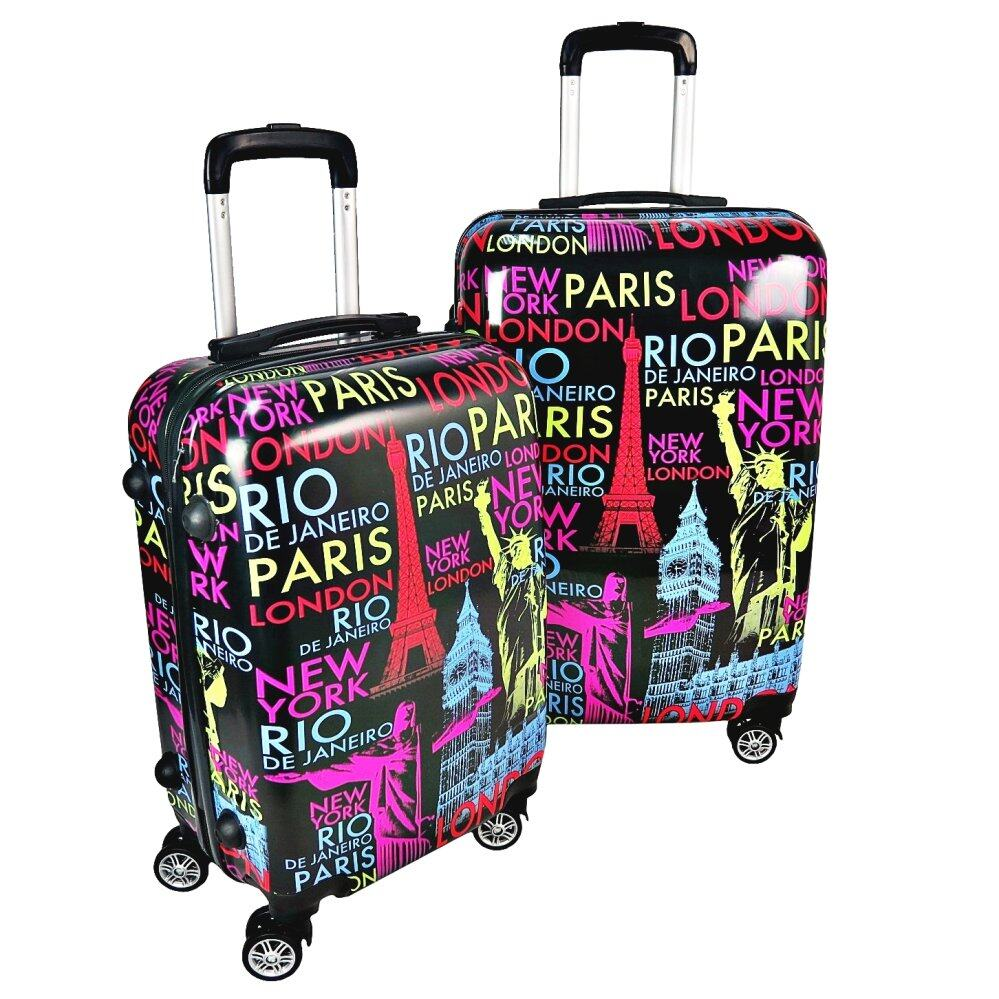 Travel Star Ultralight Weight Luggage Bagasi 2 in1 Set (20 Inch+24 Inch)- Colourful World