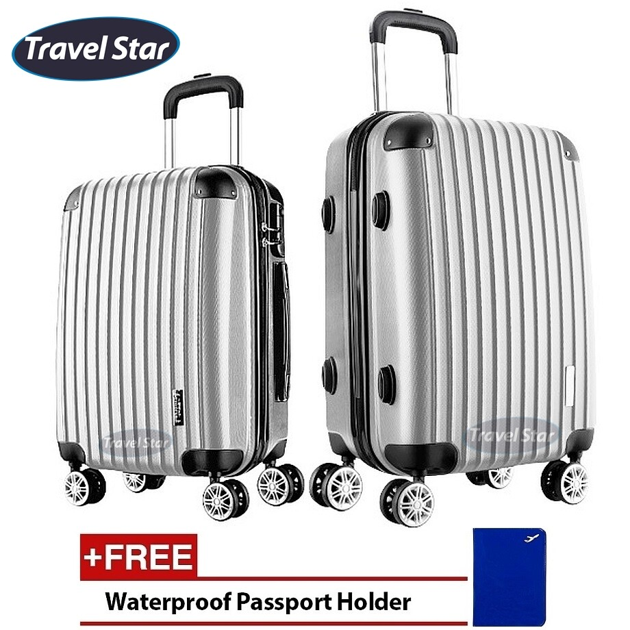 Travel Star X02 Premium Luggage Bagasi Set (20+ 24inch)- Silver Grey