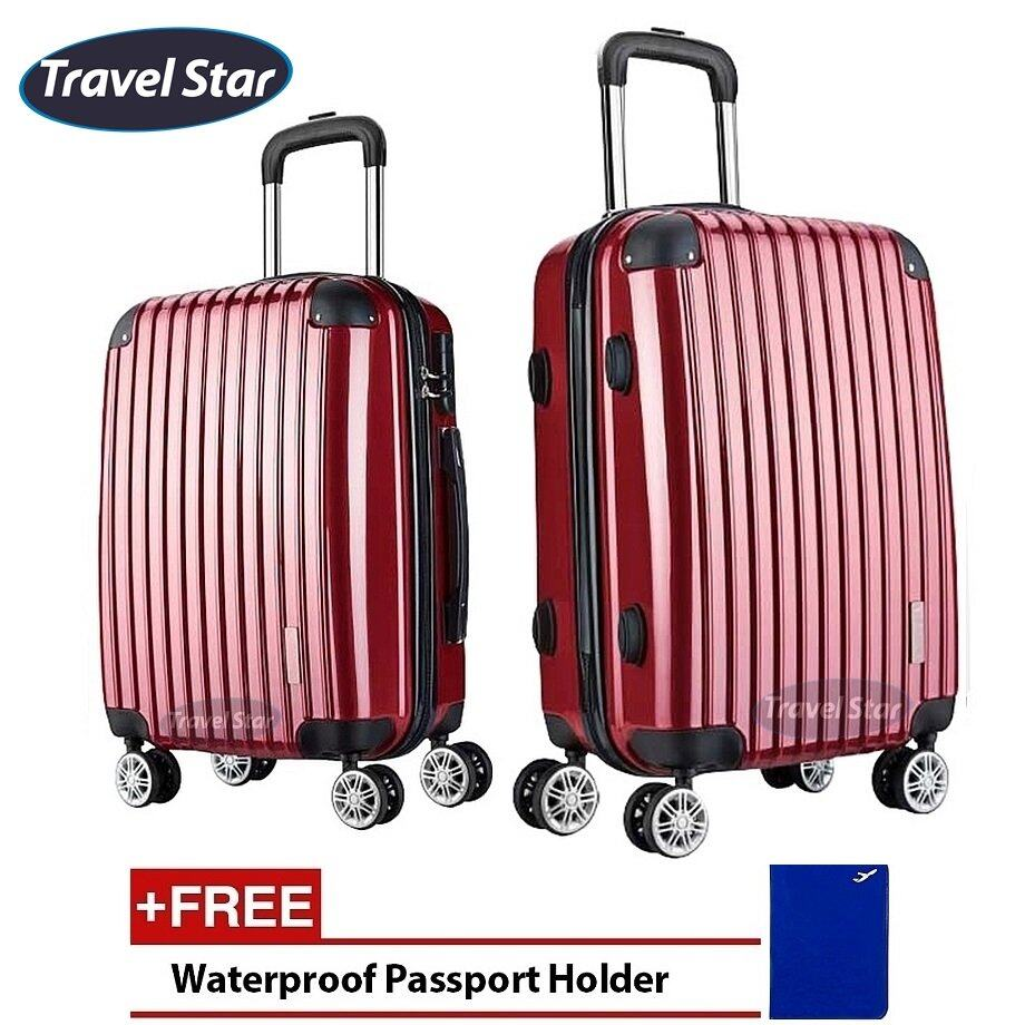 Travel Star X02 Premium Luggage Bagasi Set (20+ 24inch)- Wine Red