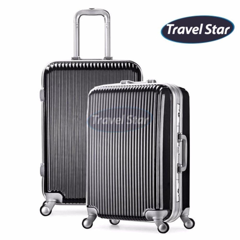 Travel Star Z01 Premium Hard Case Luggage Bagasi With Aluminium Frame (24inches) - Black