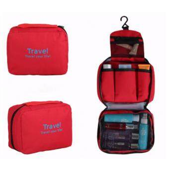 Harga Travel Your Life Cosmetic Bag Travel Toiletries Makeup Pouch-RED