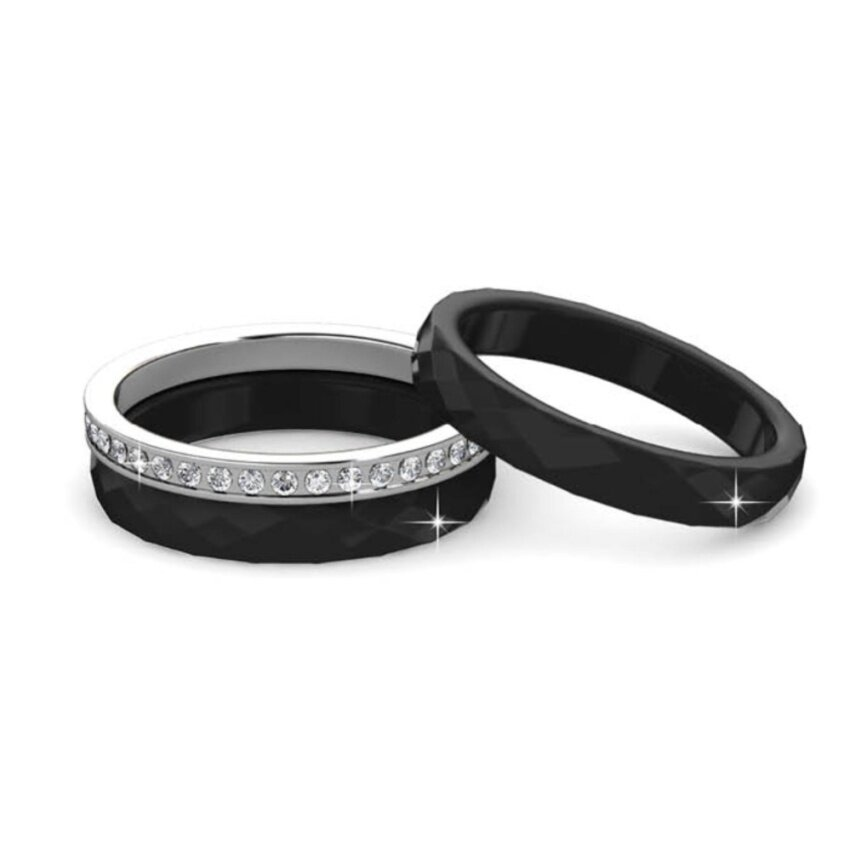 Tri Ceramic Ring (Black) Embellished with Crystal from Swarovski
