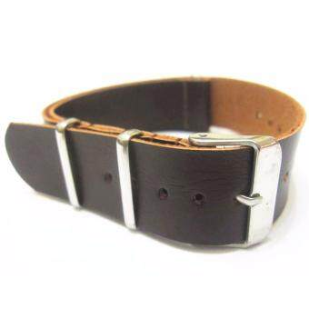 Harga Twinklenorth 18mm Dark Brown Genuine Leather Nato Military WatchBand Strap NATO-025