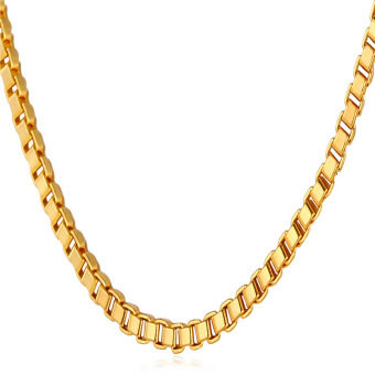 "Harga U7 Simple Gold Box Chain Necklace 22"" 18K Real Gold Plated FashionWomen/Men Jewelry Gift (Gold)"