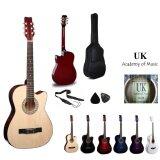 UK Acoustic Guitar 38 Inch (Natural)+Bag+2 Picks+Strap