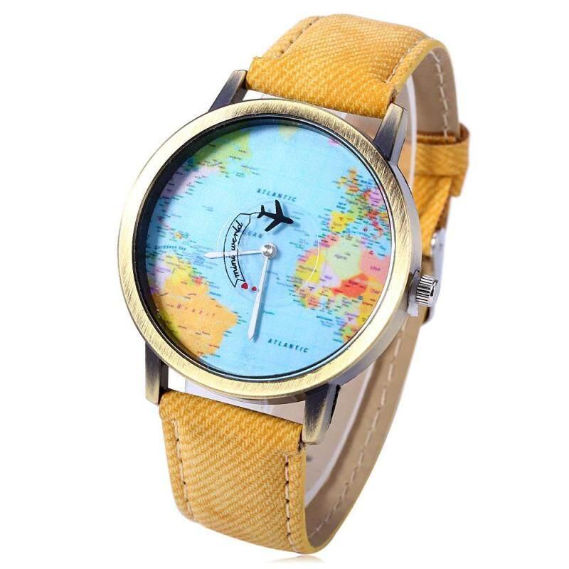 Unisex Watch Quartz Wristwatch World Map Leather Band for Women Men Malaysia