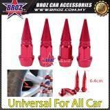 Broz Universal Car Wheels 4pcs Motorcycle Car Tire Valve Caps Covers Aluminum Red