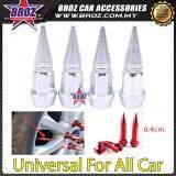 Broz Universal Car Wheels 4pcs Motorcycle Car Tire Valve Caps Covers Aluminum Silver