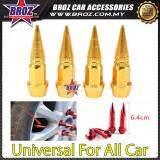 Broz Universal Car Wheels 4pcs Motorcycle Car Tire Valve Caps Covers Aluminum Yellow