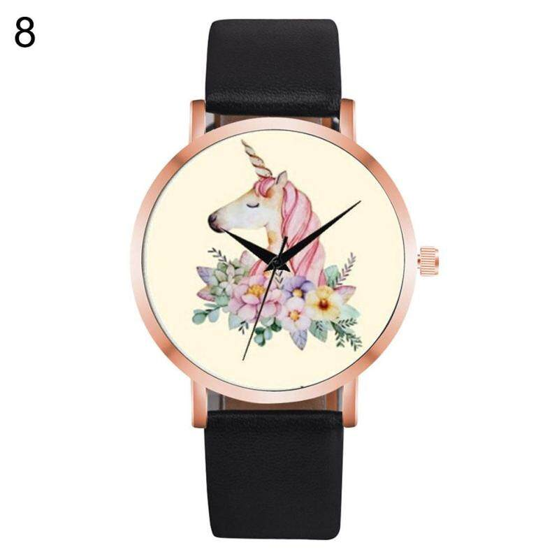 Useful Girl Boy Unicorn Watch Analog Display Faux Leather Quartz Wrist Watch Xmas Gift (10#) Malaysia