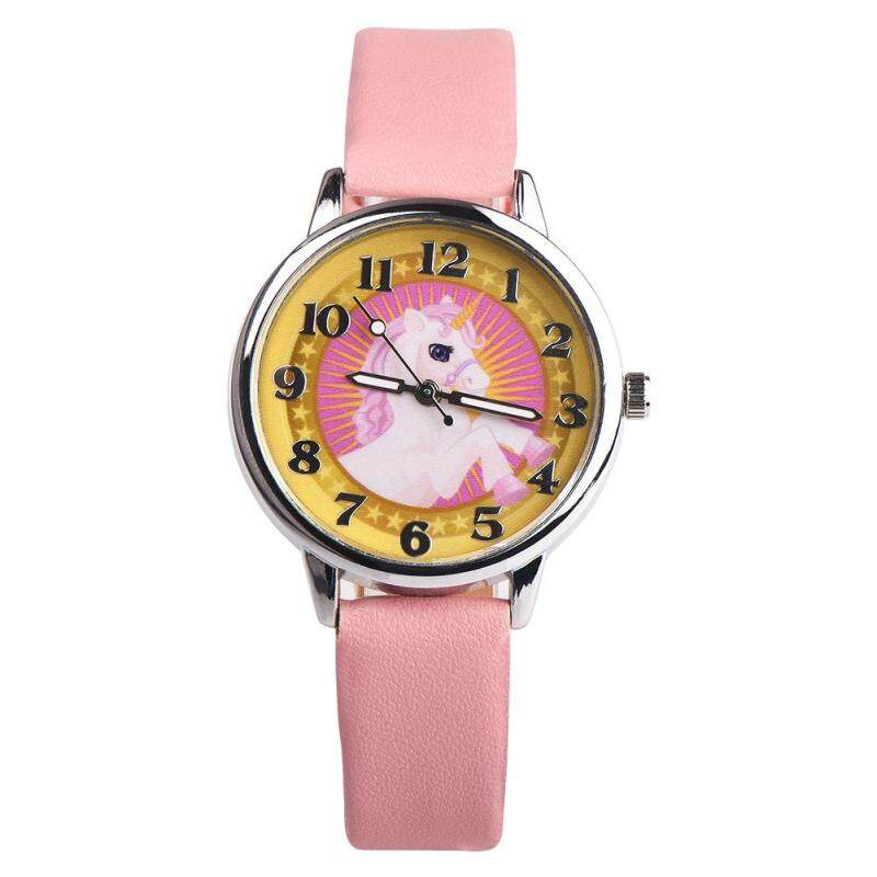 Useful Kid Boys Girls Unicorn Animal Faux Leather Analog Quartz Wrist Watch Xmas Gift (Beige + Pink) Malaysia