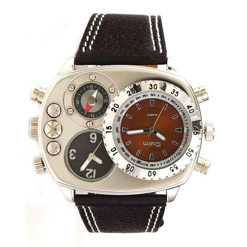 V SHOW Military Army Dual Time Zones Quartz Leather Watch(Coffee)(Not Specified)(OVERSEAS) - intl