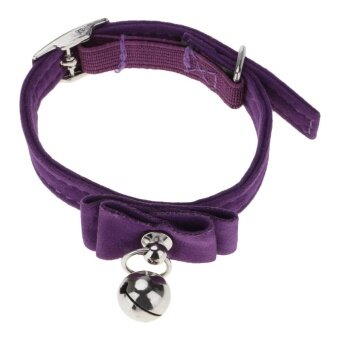 Harga Vanker-28*1cm Cute Durable PU Quick Release Puppy Cat Lovely BowCollar With Bell (Purple)