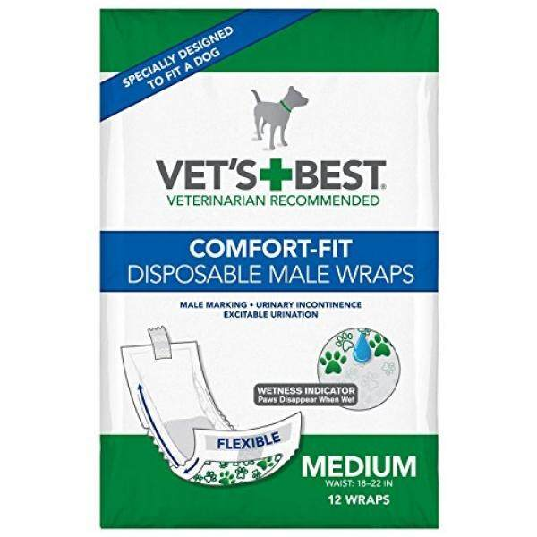 Vets Best 12 Count Comfort Fit Disposable Male Dog Wrap, Medium - intl Philippines