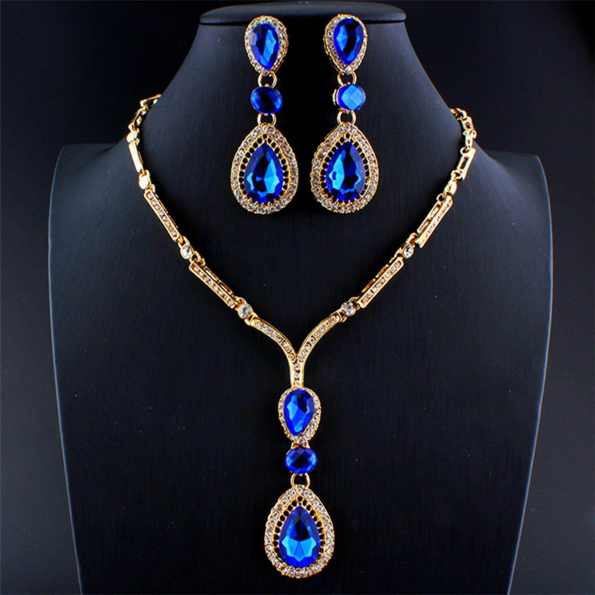 Antik Biru Wanita Perhiasan Set Gold Berlapis Air Jatuh Kalung Giwang Pernikahan Partai Aksesori-Internasional