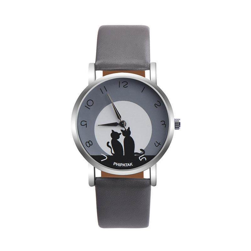 vishine mall- Concise Women Lady Cat Leather Strap Quartz Watch Casual Jewelry Wristwatch Gift Malaysia