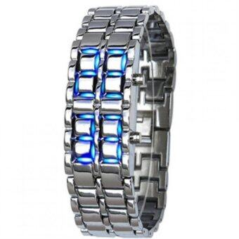 Harga Volcanic Lava Iron Samurai Metal Faceless Bracelet Blue LED Watchfor Men and Women (Sliver)