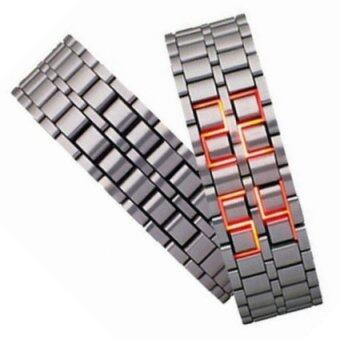 Volcanic Lava Iron Samurai Metal Faceless Bracelet Red LED Watchfor Men and Women (Silver)