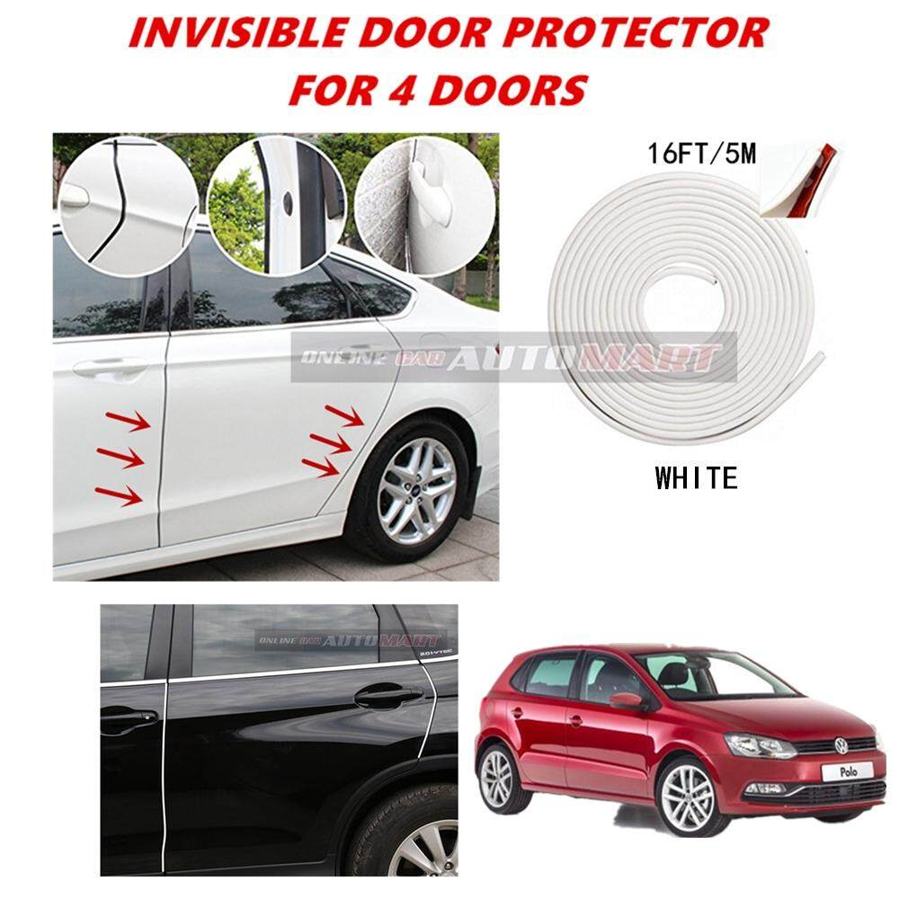 Volkswagen Polo - 16FT/5M (WHITE) Moulding Trim Rubber Strip Auto Door Scratch Protector Car Styling Invisible Decorative Tape (4 Doors)
