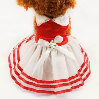 Harga VORSTEK Dog Dress Tutu Lace Sailor Dog Dresses Stripes Skirt ForPet Dogs Summer Dress - Red L