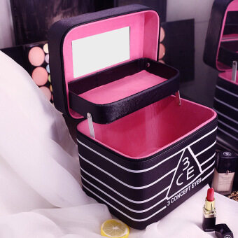 Wash products storage bag cosmetic bag large capacity korean 3cekorean folding mirror portable vanity case with compartment