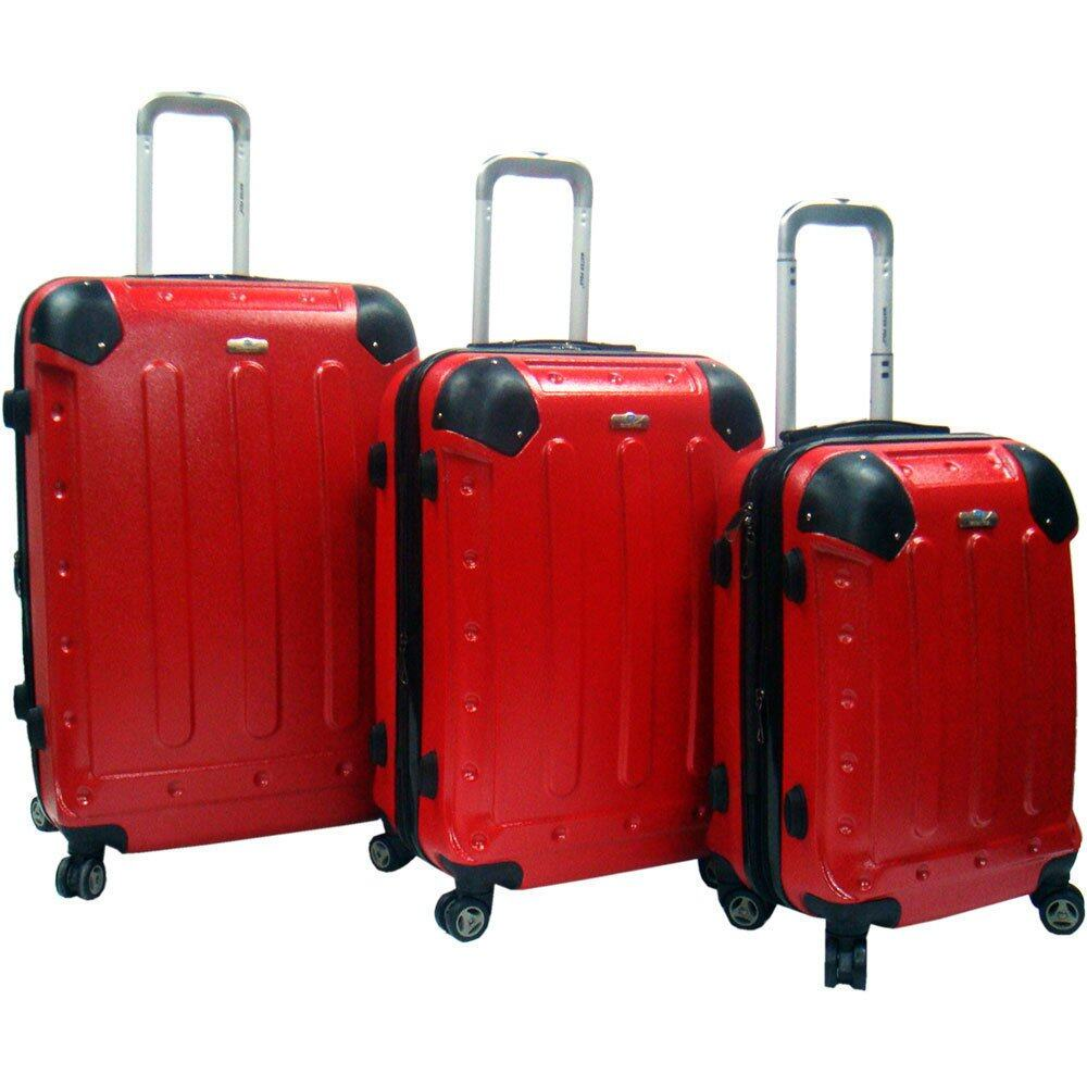 Waterpolo Anti Scratch Hard Case Trolley 3-in-1 Luggage Set (Red) f78314eda8