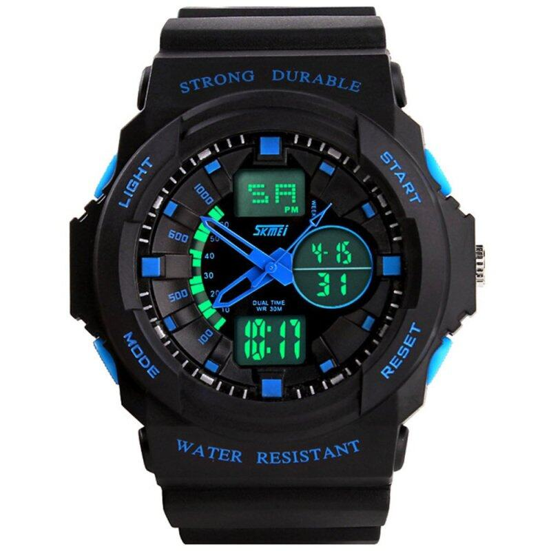 Waterproof LED Digital Sports Military Wrist Watch Stopwatch Dual Time Zone Display Wristwatch for Men Blue Malaysia