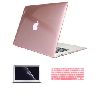 "Welink 3 in 1 Apple MacBook Air 11"" Case / Clear Crystal Case +Keyboard Cover + Screen Protector for Macbook Air 11"" (Clear Pink)"