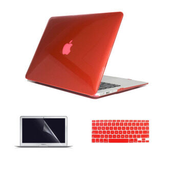 "Welink 3 in 1 Apple MacBook Air 11"" Case / Clear Crystal Case +Keyboard Cover + Screen Protector for Macbook Air 11"" (Clear Red)"