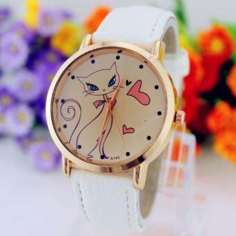 Harga (white)Beautiful Gift 1PC Fashion Women Cute Cat Watch Ladies Faux Leather Analog Quartz Casual Wrist Watch