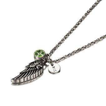 Harga Wing of Angel Cremation Jewelry Initial Necklace Urn Memorial AshesHolder Keepsake with Birthstone Crystal by AMIST August I