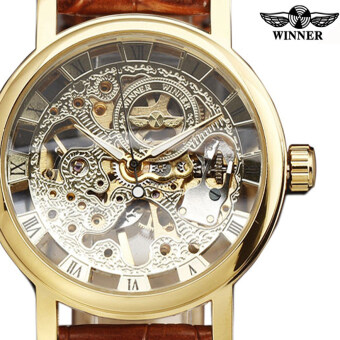 Harga WINNER 8293 Stainless Steel Synthetic Leather Men Male Skeleton Mechanical Hand Wind Military Sport Business Wrist Watch
