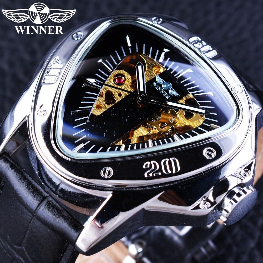 Pemenang GMT996-2 Jam Mekanis Pria Jam Tangan 2017 Mewah Merek Otomatis Angin Arloji Segitiga Tombol Penyetel Desain Emas Kerangka Jam Tangan -Internasional