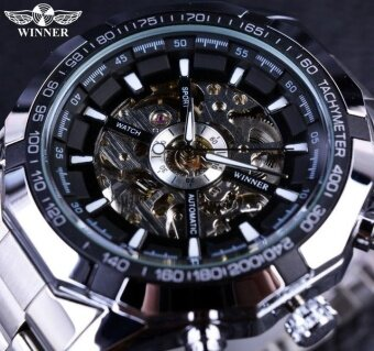 Harga WINNER Leather Strap Watch Women Men Skeleton Automatic MechanicalWatch