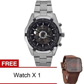 Harga WINNER Men Skeleton Dial Automatic Mechanical Stainless Steel Watch(Black)