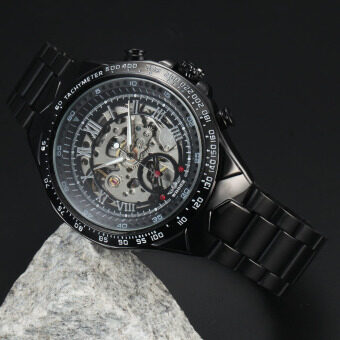 Harga WINNER Stainless Steel Case and Leather Strap Men Male Fashion Business Sport Casual Skeleton Automatic Mechanical Wrist Watch - Black Strap + Black Face