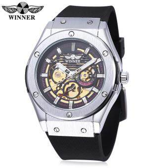 Harga WINNER W2016060202 Male Auto Mechanical Watch Luminous Hollow BackCover Nail Scale Wristwatch