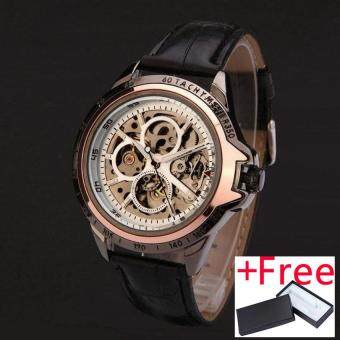 Harga WINNER Watch Jam Tangan es men luxury brand fashion casual skeleton wristWatch Jam Tangan es automatic wind mechanical Watch Jam Tangan leather strap