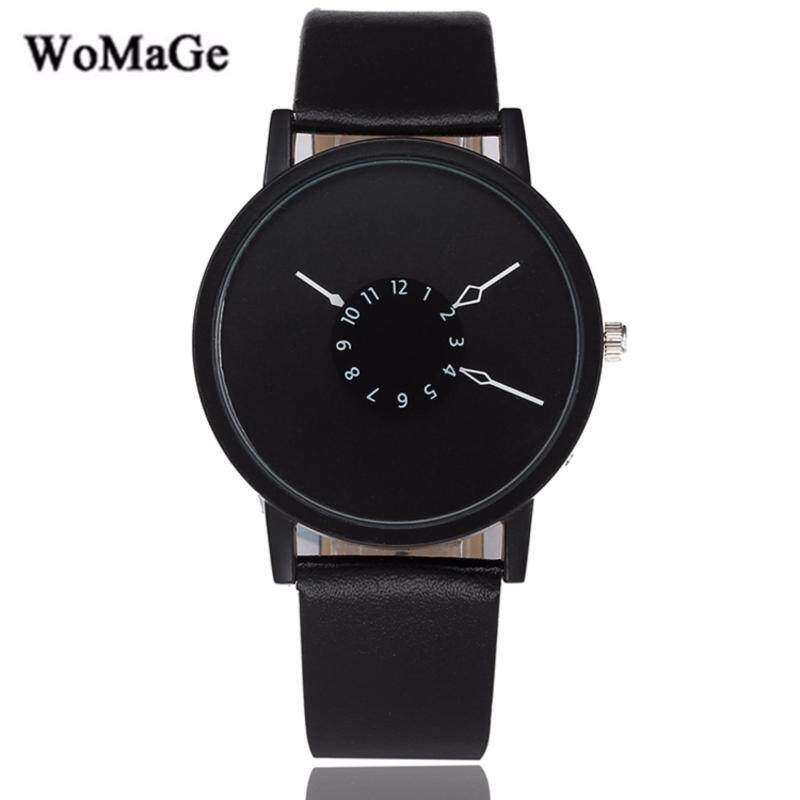 Womage Trendy Simple Leather Fashion Womens & Mens Unisex Watch (Black) Malaysia
