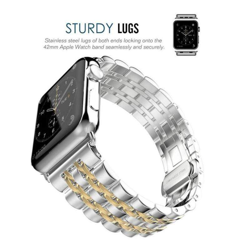 Womdee Apple Watch Band Stainless Steel Link Bracelet Double Button Folding Clasp Replacement Strap For Apple Watch 42mm SilverGold Malaysia