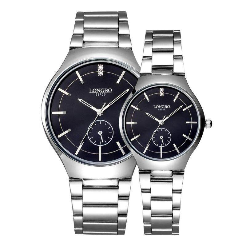 Womdee LONGBO imported from Japan movement fashion simple dial stainless steel strap couple watches (Black) Malaysia