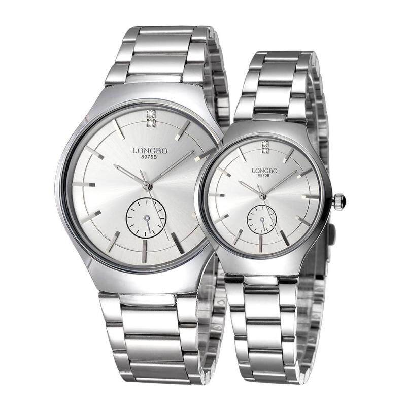 Womdee LONGBO imported from Japan movement fashion simple dial stainless steel strap couple watches (Silver) Malaysia