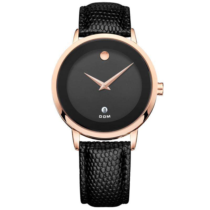 Womdee Simple retro waterproof Mens watch two pin up calendars couple table Mens quartz watch gold shells DOM (DOM) watch the mens fashion belt, leisure table (1 X men Watch) (BlackRose gold) Malaysia